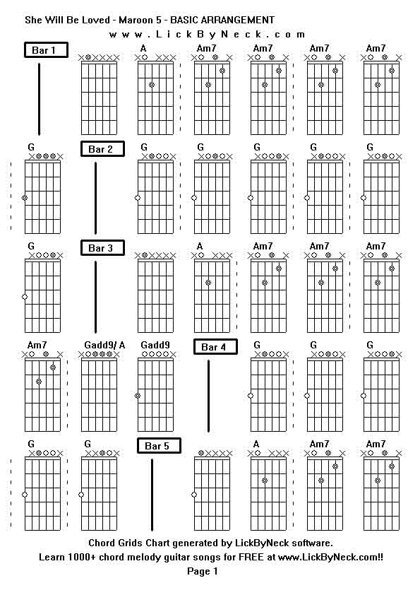 Chord Grids Chart of chord melody fingerstyle guitar song She Will Be Loved  Maroon  Lick. She Guitar Chord