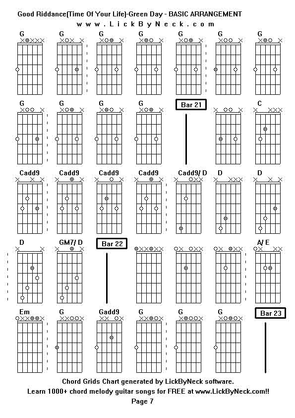 Perfect Guitar Chords For Greenday Time Of Your Life Frieze - Basic ...