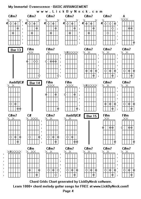 Evanescence My Immortal Guitar Chords