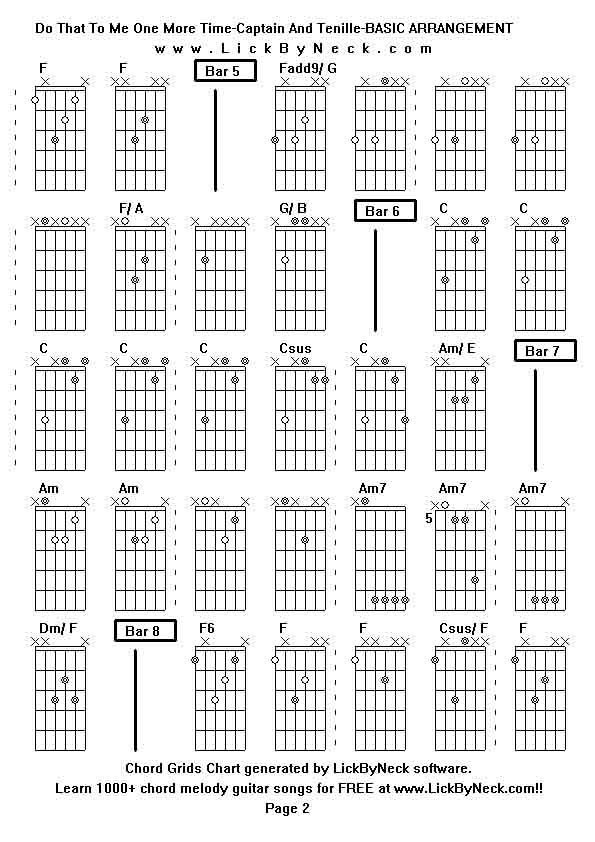 captain and tennille guitar chords