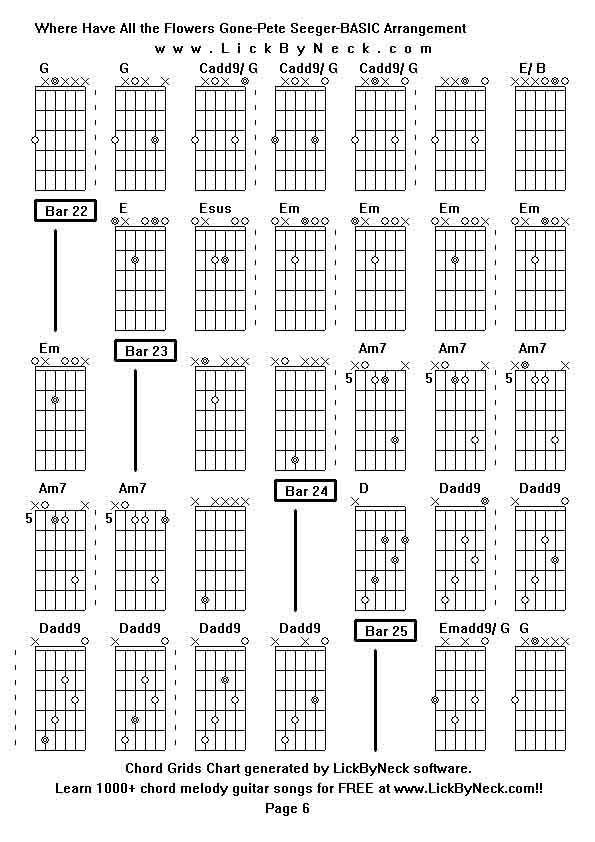 Unique Guitar Chords For Where Have All The Flowers Gone Image ...