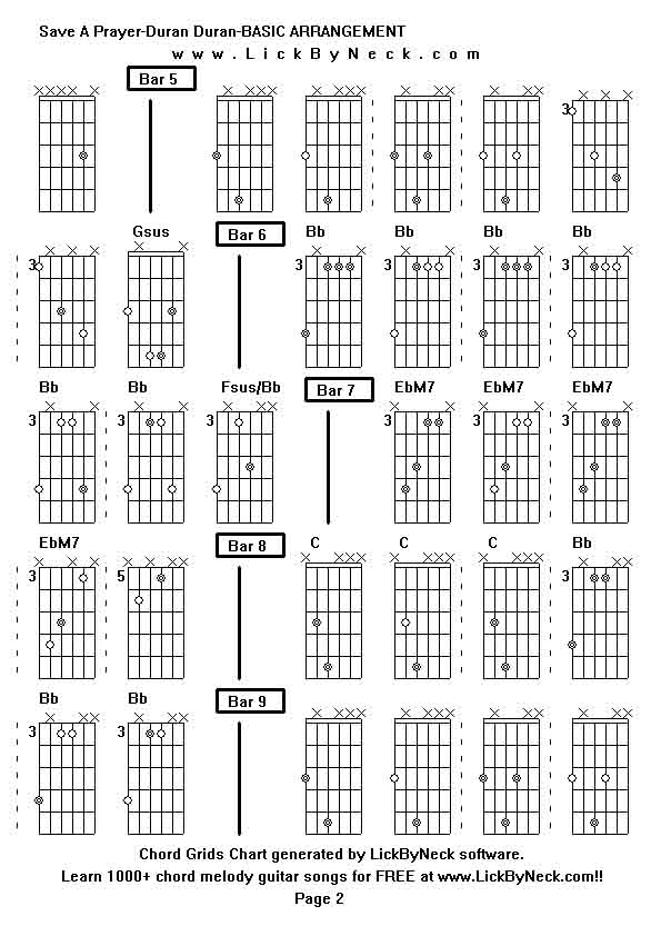 Chord Grids Chart of chord melody fingerstyle guitar song-Save A  Prayer-Duran Duran